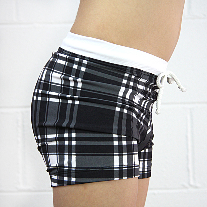 Boys Euro Style Swimming Trunks in black check - The ...