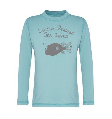 long sleeved rashie in aqua blue