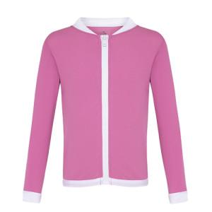zip up rashie in pink fabric
