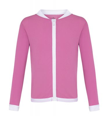 zip up rashie in pink fabric