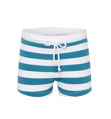 swimming shorts in teal stripe