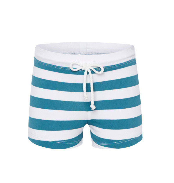 swimming trunks in teal stripe