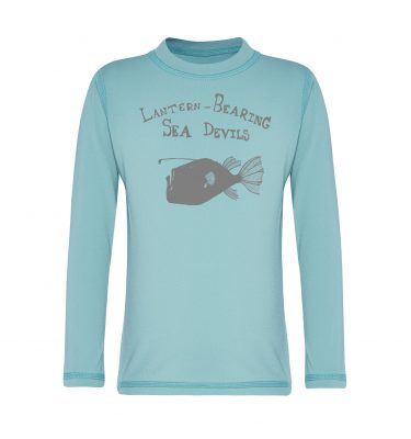 long sleeved rashie in aqua blue
