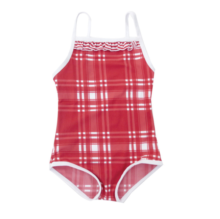 girls bathers in red check